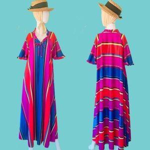 Vintage Stripe Caftan/Muumuu/House Dress